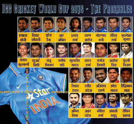 India 2015 world cup probables